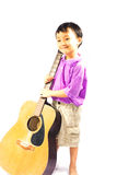Asian boy with guitar Stock Photo