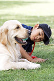 Asian boy and his dog Stock Images