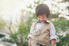 Asian boy  holding american short hair  kitten Stock Photo