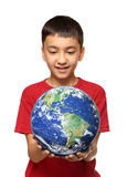 Asian boy holding earth palnet Stock Image
