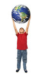 Asian boy holding earth planet Stock Images