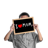 Asian boy holding with love Mom message Stock Photos