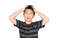 Asian boy kid holding his head frowning with screaming. pulling Royalty Free Stock Image