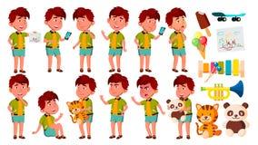 Asian Boy Kindergarten Kid Poses Set Vector. Active, Joy Preschooler Playing. For Presentation, Print, Invitation Design royalty free illustration
