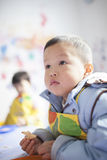 Asian boy learning the painting Royalty Free Stock Photo
