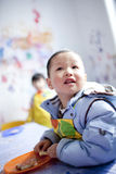 Asian boy learning the painting Stock Image