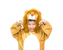 Asian boy in lion costume Stock Photo