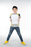 Asian boy is little smile with blank white board and looking cam Royalty Free Stock Photo