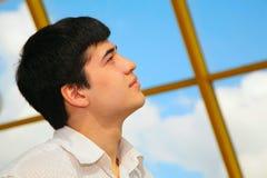 Asian boy looks to sky Stock Photo