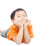 Asian boy lying on floor Royalty Free Stock Photography