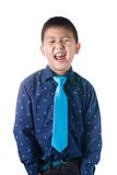 Asian boy with necktie, isolated on white background Royalty Free Stock Photography