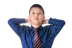 Asian boy with necktie, isolated on white background Royalty Free Stock Photo