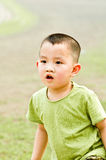 Asian boy playing. Half body portrait of young preschool Chinese boy playing outdoors Royalty Free Stock Photos