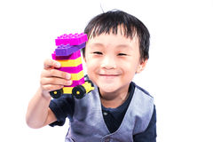 Asian boy playing Lego Royalty Free Stock Photo