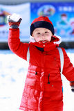 Asian boy is playing snow Stock Images