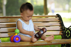 Asian boy playing toy Stock Photography