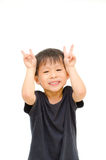 Asian boy pretend to rabbit Royalty Free Stock Image