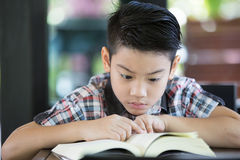 Asian boy reading a book Stock Images