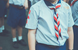 Asian boy scout group line up and prepare for boy scout camp. Royalty Free Stock Photo