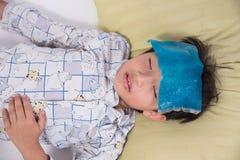 Asian boy sick Stock Image