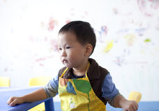 Asian  boy siting at the painting learning room Stock Photo