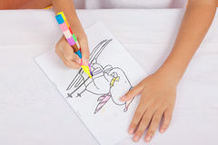 Asian boy Sitting coloring homework Royalty Free Stock Images