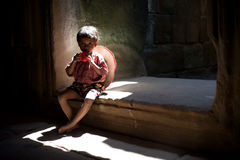 Asian boy sitting in the temple stock photos