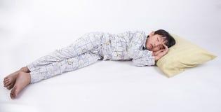 Asian boy sleep. Asian boy young bed child kid sleep bedroom people relax night peaceful dream pyjamas Stock Photo