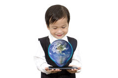 Asian boy with smart phone 3D globe on hand hologram Elements o stock photo