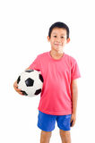 Asian boy with soccer ball Stock Photos