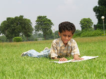 Asian boy studying. A little Asian boy lying in the grass and studying outdoors Royalty Free Stock Image