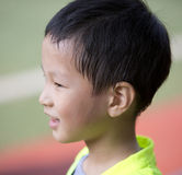 Asian boy with sweat hair after sport Royalty Free Stock Images