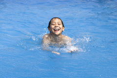 Asian boy is swimming in pool Royalty Free Stock Images