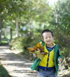 Asian boy taking yellow leaf running Royalty Free Stock Photo