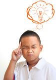The Asian boy thinking in classroom Royalty Free Stock Photography