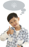 Asian boy thumps up and ad text area Royalty Free Stock Images