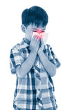 Asian boy using tissue to wipe snot . Child with allergy symptom Royalty Free Stock Images