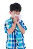 Asian boy using tissue to wipe snot from his nose. Isolated on w Royalty Free Stock Photos