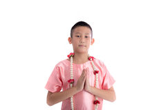 Asian boy welcome expression Sawasdee Stock Image