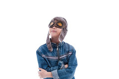 Asian boy wishing to be pilot on white background Stock Images