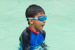 Asian boys are swimming in the pool. Asian boys are swimming in the pool , Thailand royalty free stock photos
