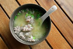Asian breakfast. Asian Thai style breakfast soft boiled rice, rice soup royalty free stock photo