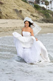 Asian bride at the beach. A happy Asian bride wearing her wedding dress and veil wades through the surf zone and a remote beach just after her wedding Royalty Free Stock Images