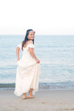 Asian bride. On the beach Royalty Free Stock Images