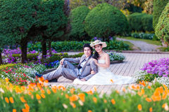 Asian Bride and Groom Sitting Together in Garden.  Royalty Free Stock Photos