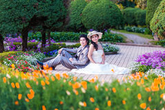 Asian Bride and Groom Sitting Together in Garden.  Stock Photos