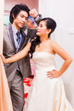 Asian Bride and Groom Standing in House Stock Photos