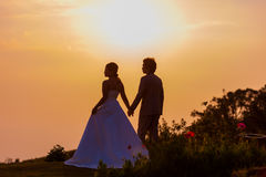 Asian Bride and Groom Standing on Mountain at Sunset Royalty Free Stock Images