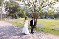 Asian bride and her groom walking down the garden in the sunshine stock photography