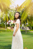 Asian bride. At outdoor in a morning Stock Image